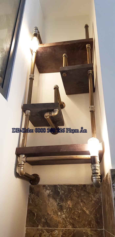 Kệ ống nước kết hợp đèn decor edison